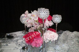 Wholesale Wholesale Candles For Cheap - cheap 3 pcs one set ,5 set one lot ,sliver crystal candle holder centerpieces for wedding