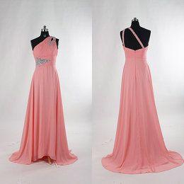 Coral One Shoulder Chiffon Bridesmaid Dress