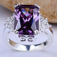 ingrosso pietra oblunga-Anello in argento sterling 925 placcato oro bianco con pietre preziose a forma di anello in argento 925 con ametista viola