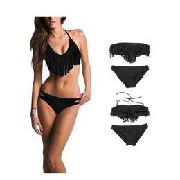 Wholesale Fringe Bandeau - S5Q Sexy Ladies Tassel Bandeau Fringe Top Bikini Bottom Beach Swimsuit Swimwear AAADFG