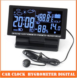 Wholesale Water Temp Thermometers - LCD Display Car clock with Hygrometer Digital Automotive Thermometer Weather Forecast top sale free shipping