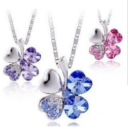 Wholesale Clover Flower Necklace - 2014 hot sale 10 colors Austria Crystal Four Leaf Clover Pendant Necklace fashion women quality choker Free Shipping jewelry wholesale