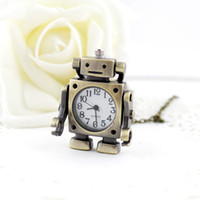 Wholesale Pocket Watch Classic - Classic designer jewelry lovely fashion Robot pendant brass pocket watch with chain for