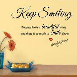 Wholesale Beautiful Package Design - Keep Smiling Because Life A Beautiful Thing-Marilyn Monroe's Inspirational Quotes Wall Decals, Letter Stickers For Room Decor