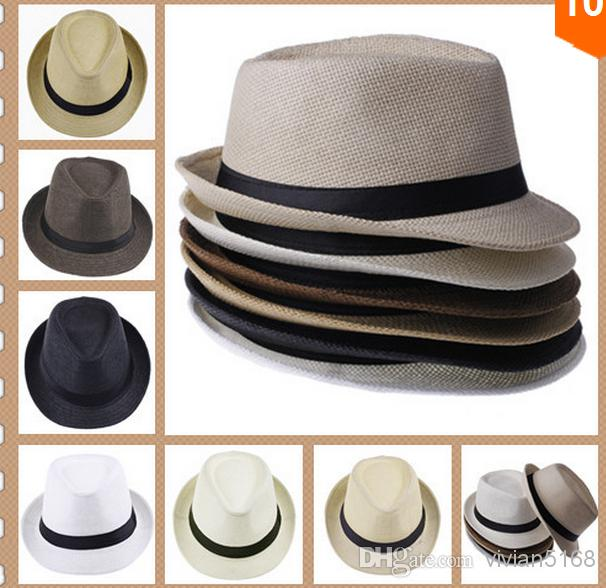0ec1d911 2019 Hot Sale Unisex Women Men Casual Trendy Beach Sun Straw Panama Jazz Hat  Cowboy Fedora Gangster Cap With Black Ribbon From Vivian5168, $62.32 |  DHgate.