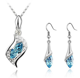 Wholesale Dark Silver Jewelry - Top Austria Crystal Swarovski Elements 18K Gold Platinum Plated Drop Earring Necklace Jewelry sets