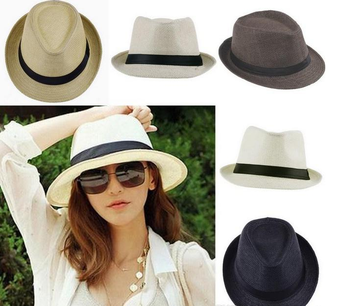 3a67e281323 Fashion British Jazz Hat Unisex Women Sunhat Summer Beach Sun Straw Panama  Hats Lovers Hat with Black Ribbon 7 Colours Panama Straw Hats Online with  ...