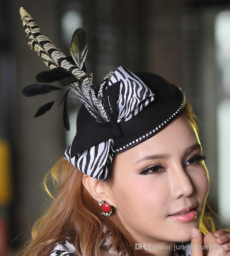 2019 Ladies Fashin Hats Women Wool Felt Fascinator Hat Women Hairband  Accessory Black Feather Hair Accessories 100% Wool Fasciantor Fashion From  ... 8927bc90f35