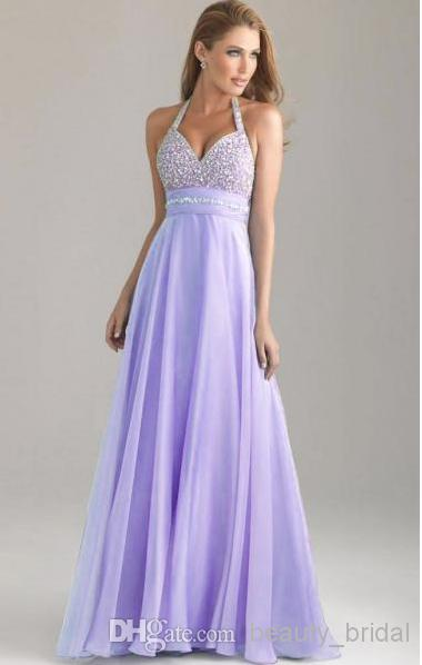 lilac prom dresses 2014 hot sale halter neck with sparkle