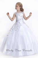 Wholesale White Dress Purple Accents - 2017 Ball Gown Princess Beaded Accent Tulle Perfect Angels Pageant Gowns Party Formal Little Girls Pageant Dresses PA1537