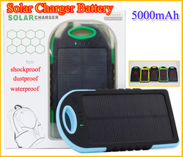 Wholesale Wholesale Solar Laptop Charger - 5000mAh Solar Charger Solar Panel portable power bank for Cell phone Laptop Camera MP4 With Flashlight waterproof shockproof