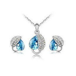 Wholesale Earring Swarovski Elements - Lovely Austrian swarovski element platinum fill Leaf CZ crystal jewelry set earring necklace assorted color wholesale
