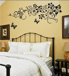 Wholesale Modern Flowers Design - Black Butterflies Wall Stickers Flowers Art Home Decor Wall Decals for Living Room, for Bedroom Decoration