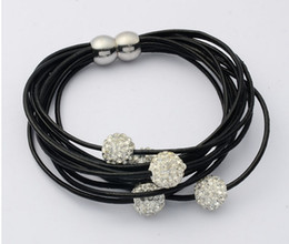Wholesale multi shamballa bracelet - Fashion Bracelet Multi Strand Leather Magnetic Bracelet 5 Shamballa Crystal Beads Multilayer Leather Strands With Magnetic Buckle 50pcs