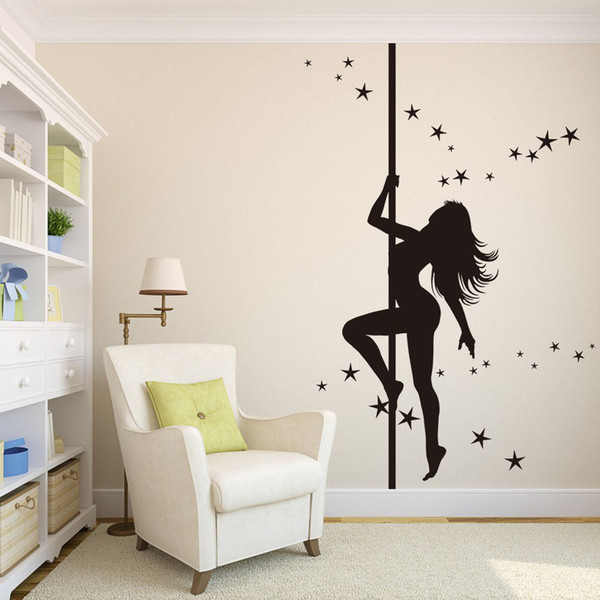 Dancing Gril Wall Decals Dancing Star Removable Beauty Vinyl Wall Stickers Home Decor Art Decals