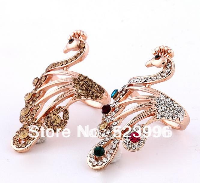 2018 Phoenix Peacock Bird Rose Gold Rings For Women Alloy Crystal