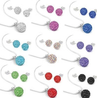 Wholesale Drop Shamballa Earrings - 10Pcs lot 10mm crystal best clay hotsale disco bead Rhinestone shamballa Set necklace studs earrings drop jewelry set hot sale