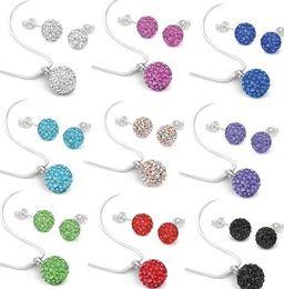 Wholesale Blue Shamballa Set - 10Pcs lot 10mm crystal best clay hotsale disco bead Rhinestone shamballa Set necklace studs earrings drop jewelry set hot sale
