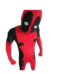 Wholesale Make Body Suit - New Super hallloween cosplay costume Deadpool Full Body Lycra Spandex Bodysuit Halloween Zentai Suit Cosplay Costumes