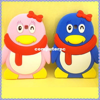 "Wholesale Cartoon Cases For Galaxy Tablet - Free shipping cartoon silicone 3D animal penguin shaped soft back tablet case cover for samsung galaxy tab 3 7""inch P3200 P3210"