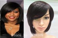 cabelo virgem real com frete grátis venda por atacado-Moda real de alta qualidade rendas frente perucas Remy brasileiro virgem curto cabelo humano para as mulheres negras do cabelo do bebê frete grátis