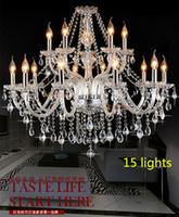 lustres luxuosos do quarto venda por atacado-Modern 15 luzes de cristal lustre de suspensão de luxo lâmpadas led antigo claros lustres sala de estar quarto pendurado luz ilightin casa