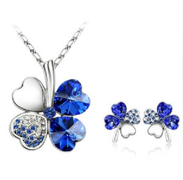 Wholesale Clover Leaf Necklace Jewelry - 10 Colors Women Austria Crystal Four Leaf Clover Necklace Earrings Jewelry Set Cheap Wholesale