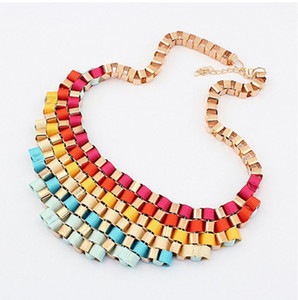 Personalized Jewelry Women Bib Collar Choker Necklaces With Fine Coloured Ribbon Retro Metal Exaggerated Short Necklace