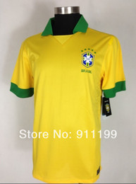 Wholesale Soccer Jersey Customized Yellow - Customize!2014 World Cup Brazil's home yellow soccer jerseys shirts Thailand AAA+++ Brazil home soccer jersey Embroidery logo