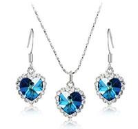 Wholesale Titanic Necklace Wedding - 8 Colors Titanic Women Austria Crystal Heart Necklace Drop Earrings Jewelry Set