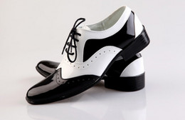 Wholesale Groom Wedding Shoes White - NEW Black and White Groom shoes men leather shoes men's casual Business work shoes men's wedding groom shoes dress shoes SIZE:39-44