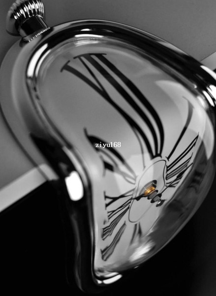 Free Shipping Retro Distorted Clock Right Angle Wall Clock Modern Design Melting Time Seated Clocks Home Decor Accept Drop Ship