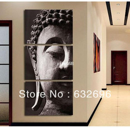 Wholesale Panel Wall Art Buddha Framed - Free Shipping High Quality Hand-painted Group Oil Painting 3 Panel Wall Art Religion Buddha Oil Painting On Canvas No Framed