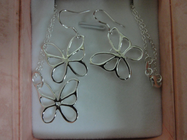 Fashion 925 Silver Jewelry Set 925 Silver Butterfly necklace & earrings send his girlfriend / wife gifts free shipping 10set/lot