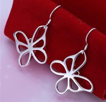 Fashion 925 Silver Jewelry Set 925 Silver Butterfly necklace & earrings send his girlfriend / wife gifts