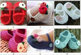 Baby Sale Crochet NZ - HOT sale! Crochet baby shoes infant girl flower leaves 0-12M 16pairs lot cotton yarn custom