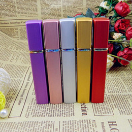 Discount mini bottles - 12ML aluminum spray bottles perfume atomizer Cosmetic Containers atomizer Travel Refillable Mini Atomiser Spray Colorful