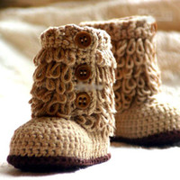 Wholesale free crocheted baby booties online - HOT sale Crochet baby snow booties first walker shoes loops design cotton yarn pairs M