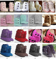 Wholesale free crocheted baby booties for sale - HOT sale Crochet baby snow booties first walker shoes loops design cotton yarn pairs M