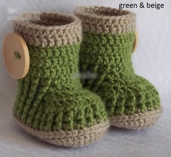 HOT sale!Wholesale - Crochet baby snow booties first walker shoes big button cotton yarn 34pairs/lot 0-12M free shipping