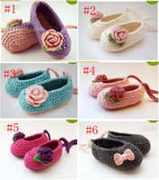 Wholesale Crochet Baby Flower Ballet Shoes - HOT sale! Wholesale - Crochet baby girl ballet shoes handmade flower leaves & bow lacing 0-12M cotton30pairs lot custom free shipping