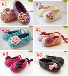 Wholesale Baby Crochet Shoes Sale - HOT sale! Wholesale - Crochet baby girl ballet shoes handmade flower leaves & bow lacing 0-12M cotton30pairs lot custom free shipping