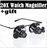 Wholesale Eye Magnifies - 20X Magnifier Magnifying LED Light Glass Loupe Lens Eye Jeweler Watch Repair+gift scarves Freeshipping Dropshipping