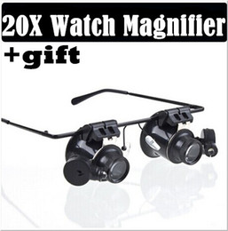 Wholesale Magnifier Eye Glasses Magnifying Lens - 20X Magnifier Magnifying LED Light Glass Loupe Lens Eye Jeweler Watch Repair+gift scarves Freeshipping Dropshipping
