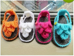 Baby Slipper Soles Canada - HOT sale! Wholesale - Crochet baby sandals first walker shoes infant slippers ruffles leaves 0-12M double sole 12pairs lot cot free shipping