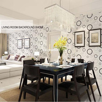 Wholesale Circular Wall - High Quality 10M Fashion Morden Circular Embossed Textured PVC Wallpaper Wall Paper Roll For Living Room Bedroom TV White Black