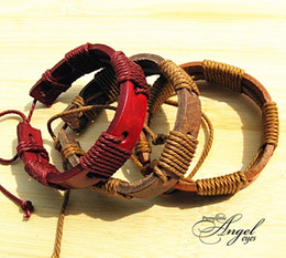 coda fata del braccialetto Sconti Braccialetti da uomo Bracciale in vera pelle multistrato con cinturino in corda intrecciata per gioielli moda 24pz