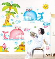 рыбные наклейки для детей ванная комната оптовых-90*120 см съемный мультфильм Рыба Кит стикер стены наклейки для питомника детская комната украшения дома ванная комната стикер стены