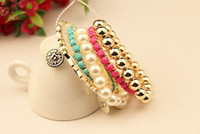 Wholesale Pearl Bracelet South Korea - Korea Style Multilayer 5Pcs set Pearl Beads Resin Gem Coin Bangle Bracelets Set 12Sets lot