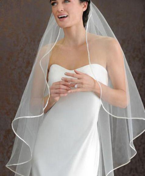 Vit / Elfenben 1 Tier 1t Bride Bridal Wedding Veil med kam